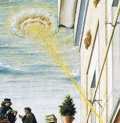 Middle ages Painting. You may have seen this on Ancient Aliens. This has been cropped. The beam hits a woman inside the building,