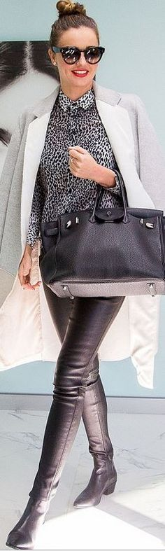 Who made Miranda Kerr's black leather pants, tote handbag, sunglasses, ankle boots, and leopard button down shirt?