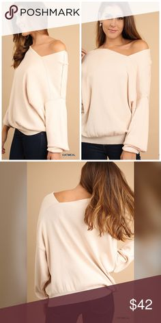 PREORDER Oatmeal Asymmetric Sweater! Simple and chic with beautiful clean lines and an Asymmetric Hemline Sweaters
