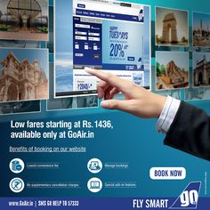 Now lowest fares are just a click away. Book now on www.GoAir.in and avail exclusive benefits. #FlySmart