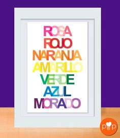 Colorful Spanish word art