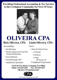 Oliveira CPA, Rick & Linda Oliveira provide tax and accounting services in the Covington area.