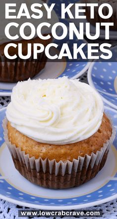 Easy Keto Coconut Cupcakes The best low carb keto coconut cupcakes ever! These delicious homemade cupcakes are easy to make. This recipe is sugar-free and gluten-free. Find out how to make these amazing dessert treats! Low Carb Cupcakes, Coconut Cupcakes, Sugar Free Cupcakes, Coconut Flour Cakes, Cheesecake Cupcakes, Mini Cupcakes, Desserts Keto, Keto Friendly Desserts, Plated Desserts