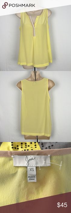 "Joie 100% silk yellow sleeveless top tank XS This is a gorgeous joie yellow and beige tank top. It is made of 100% silk and size extra small. Bust 36"" length 25"". It is lowcut with one button on the front. Joie Tops Tank Tops"