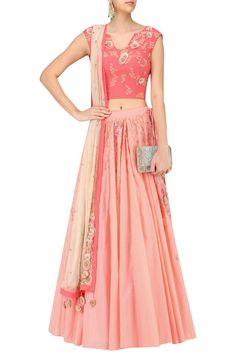Coral and peach floral lasercut patchwork lehenga set available only at Pernia's Pop Up Shop.