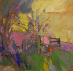 ☼ Painterly Landscape Escape ☼ landscape painting by Casey Klahn - Fence Remnant