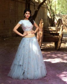 Spring summer Beautiful ice blue color layered lehenga and cropt top. Lehenga and crop top with classy floret lata design hand embroidery thread work. Designer Bridal Lehenga, Bridal Lehenga Choli, Red Lehenga, Anarkali, Cape Lehenga, Choli Designs, Lehenga Designs, Dress Designs, Trendy Dresses