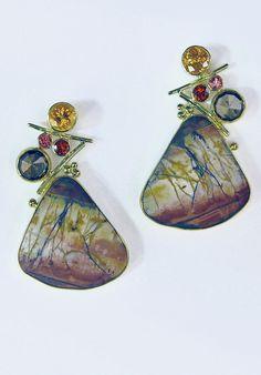 Jennifer Kalled,  Cherry Creek Jasper earrings with brown rose cut sapphire, spessartite garnet, tourmaline and garnet in 22k and 18k gold.  www.kalledjewelrystudio.com