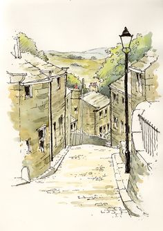 Heptonstall a small village within the Calderdale borough of West Yorkshire ~ sketch ~ John Edwards