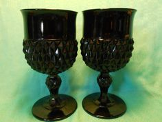 Black Glass Diamond Cut Vintage Goblets Vintage by SETXTreasures