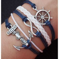 Rudder Bracelet Infinity Wish Bracelet Anchor Charm Bracelet-Navy Blue... (465 INR) ❤ liked on Polyvore featuring jewelry, bracelets, accessories, vintage bangles, vintage charm bracelet, skull charm bracelet, antique bangles and pirate jewelry