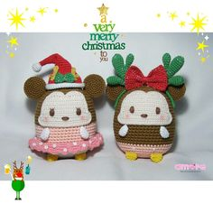 Amigurumi tsum tsum ufufy mickey minnie christmas