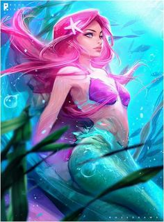 ross-tran-little-mermaid / Ariel / Disney Ariel Disney, Mermaid Disney, Mermaid Art, Walt Disney, Disney Films, Manga Mermaid, Mermaid Cartoon, Goth Disney, Ariel Mermaid