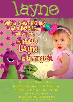 Barney Party Invitations- Print at home- DIY. $12.00, via Etsy. If Mari is still as obsessed next year & she is now