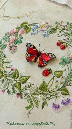 """Купить Вышивка картина """"Павлиний глаз"""" - ярко-красный, природа, бабочка, шоколад, растения"""
