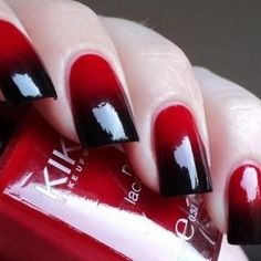 'Red & Black Nails'