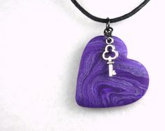 Key to My Heart Necklace, Heart and Key Jewelry, Purple Key Charm Heart  Polymer Clay Pendant by neiceysclaythings on Etsy