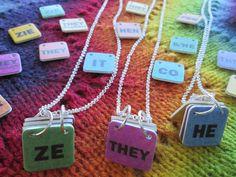 Genderfluid Pronouns Necklace - Custom - Build your own! - Silver Chain