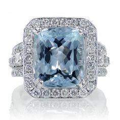 Aquamarine 12x10 cushion halo diamond anniversary ring
