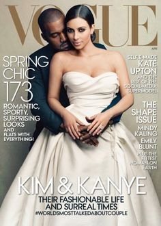 It finally happened. Kanye West and Kim Kardashian grace the cover of Vogue's April 2014 cover // #Style #Fashion #Celebrity