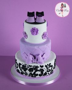 babyshower in purple and pink | Purple & Damask Baby Shower Cake