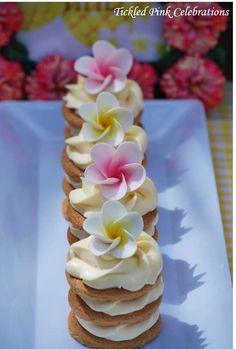 Pretty cookie stacks at a tropical party! See more party ideas at CatchMyParty.com!