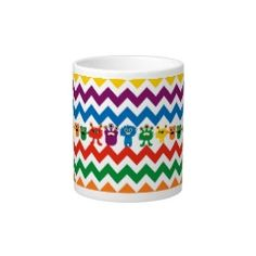 Colorful Fun Monsters Cute Chevron Striped Pattern Extra Large Mug #SOLD on #Zazzle