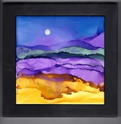 Framed Alcohol Ink Ceramic Tile  one 6x6 by LindaFlynnStudio, $35.00
