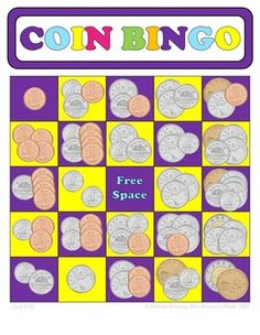 There is also an American version. Money Bingo, Money Games, Money Activities, Math Resources, Teaching Money, Teaching Math, Fun Math, Math Games, Maths