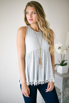 Stylist - I like the cut of lace/detailing on this top Simple Outfits, Pretty Outfits, Stylish Outfits, Beautiful Outfits, Cute Outfits, Fashion Outfits, Warm Weather Outfits, Boutique Clothing, Daily Fashion