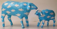 Sheep &lam inthe sky-paper mache/18-12cm long
