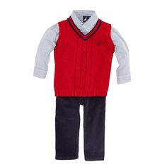 Nautica - Baby Boys' Red Sweater Vest, Shirt | Christmas kids' oufits