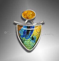 Spectrolite Amber Pendant by Bernardine Fine Art Jewelry. www.AmericanMadeShow.com/apply