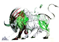 Nature, drawing by Marko Gavrilovic, Bull  painting