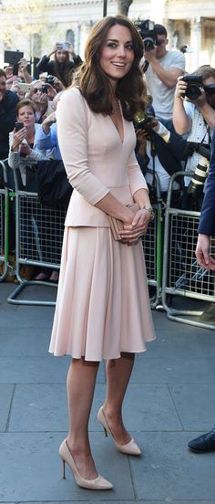 Kate Middleton looked elegant in Alexander McQueen dress with a V-neck and three quarter sleeves