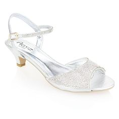024b769856b2 Aarz Women Ladies Evening Party Wedding Low Kitten Heel Peep Toe Diamante  Sandal Shoes Size ( Gold