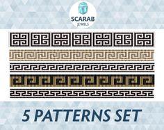 Greek Motifs 5 Patterns Set Loom Bead