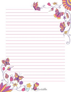 Printable Lined Paper, Free Printable Stationery, Floral Printables, Templates Printable Free, Scrapbook Paper, Scrapbooking, Pretty Writing, Notebook Paper, Stationery Paper