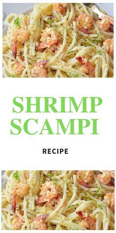 Shrimp Scampi Rezept - Recipes to Cook - Fingerfood Shrimp Recipes, Fish Recipes, Pasta Dinners, Meals, Shrimp Scampi Pasta, Quick Dinner Recipes, Yummy Recipes, Seafood Dishes, Italian Recipes