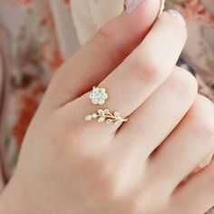 Korean fashion style Crystal ring twisted leaves wishful flowers open ring Extravagance female index finger ring //Price: $US $0.69 & FREE Shipping //     #hashtag3