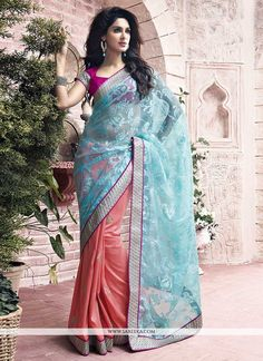 Modish Peach And Blue Net Half And Half Saree