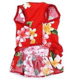 Red Flower Ruffle Hawaiian Dog Dress
