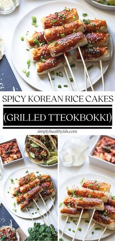 A popular Korean street food that comes in the form of a sweet and chewy rice cake! This Grilled Tteokbokki is lightly c Rice Cake Recipes, Rice Cakes, Korean Rice Cake, Tteokbokki, Korean Street Food, Snacks To Make, Korean Dishes, Easy Family Meals, Family Recipes