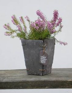 Items similar to Slate plant pot made from reclaimed Welsh slate - Very Small Lady Pot on Etsy Tile Projects, Garden Projects, Projects To Try, Slate Art, Slate Tiles, Grey Slate, Slate Shingles, Slate Roof Cost, Slate Garden