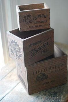 Old Farm Advertising Crates, Set of three