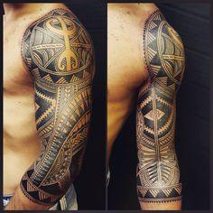 Finished this 3/4 sleeve today #contemporary #polynesian #maori #freehand #blackwork #tattoo #tatau #tattooartist #anoint_tattoocare