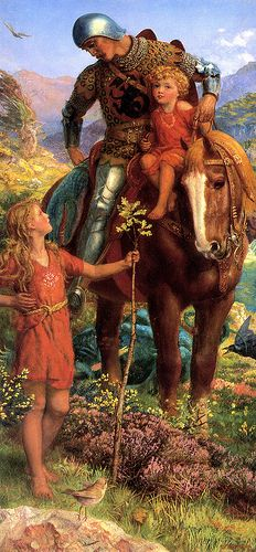 """Arthur Hughes (1832-1915), """"The Rescue"""" (right panel of diptych) 