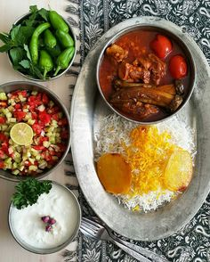 healthy meals for dinner easy meals ideas free Iranian Dishes, Iranian Cuisine, Healthy Dinner Recipes, Indian Food Recipes, Ethnic Recipes, Healthy Food, Iran Food, Food Decoration, Table Decorations