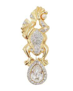 Fashion Rhinestone Crystal Pearl Ceramics Beads Big Pin Brooch Women Jewelry
