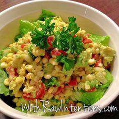 Raw Sweet Corn Salad (sans the garlic)